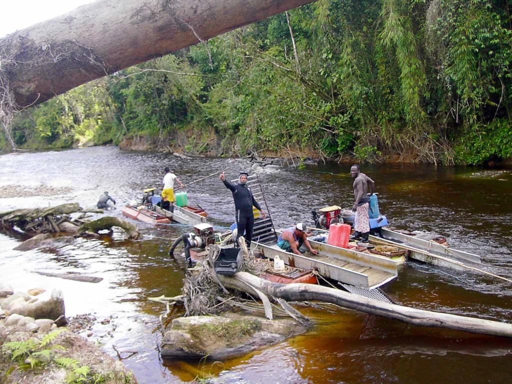 Dredging the Rio Blanco near the Ecuador border.